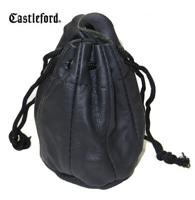 Castleford Black Leather Drawstring Tobacco Pouch With Rubber Lining - NEW