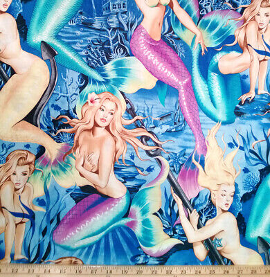 BY YARD-Sea Sirens Mermaid Fabric Pin Up Girls Alexander Henry 7825A Blue