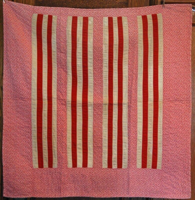 MENNONITE BAR CRIB QUILT with BAR BACKING ~ANTIQUE VINTAGE FROM LANCASTER PA