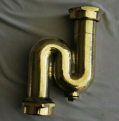 BRASS  S TRAP 1 1/4 INCH HEAVY RECLAIMED REFURBISHED & READY 2 FIT TRAPS