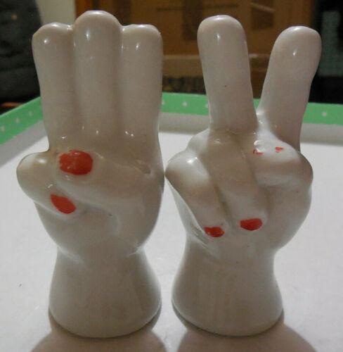 Vintage Salt & Pepper Shakers -  Hands - Peace Sign