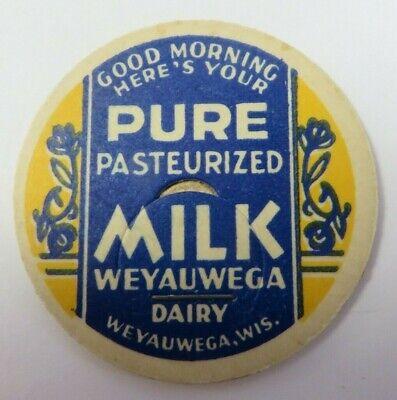 "Vintage Milk Bottle Cap 1 & 5/8"" WEYAUWEGA DAIRY Advertising Wisconsin"