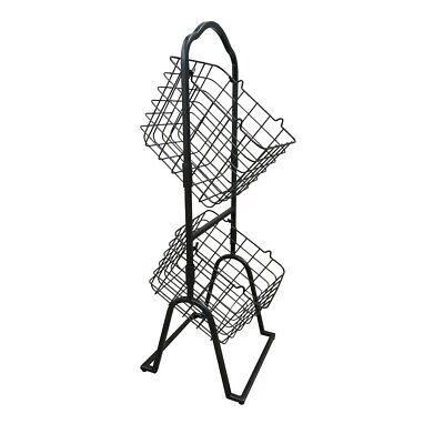 2-tier Metal Market Basket Display Rack For Stores Offices Home Shoe Organizer