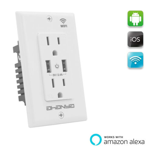 New Wall Socket with 2 Ports USB Outlet White for smart Phones Tablets APP remot