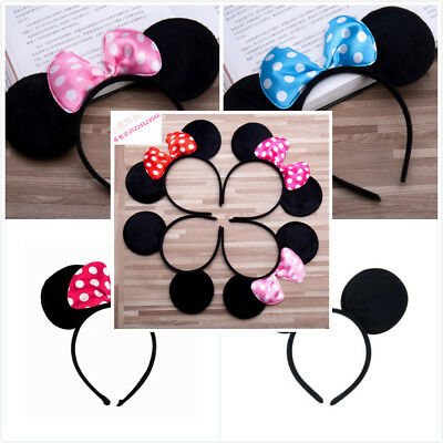 Minnie Mouse Ears Bow Headband Hen Women Girl Baby Mickey Dance Party Fancy Gift