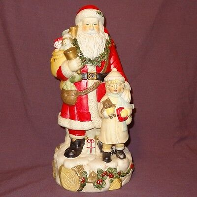 """Vintage Santa Claus with Little Girl Toys Ceramic 16"""" Figurine Holiday"""