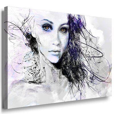 Frau Gesicht Abstrakt Graffiti Kunstdruck Leinwandbild AK ART Bilder Wandbild  - Abstrakte Frau Gesicht