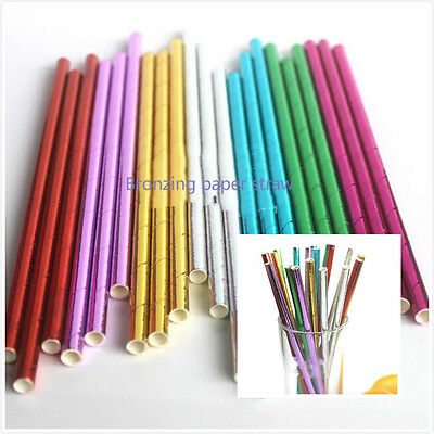 Birthday Paper Products (Gilded Paper Retro Vintage Party Drinking Straws Birthday Wedding Party)