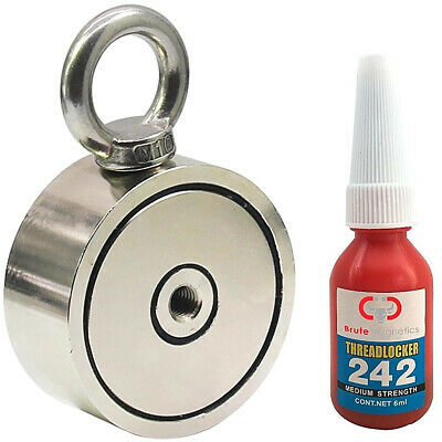 Brute Magnetics Double Sided Round Neodymium Magnet With Eyebolt Combined 800