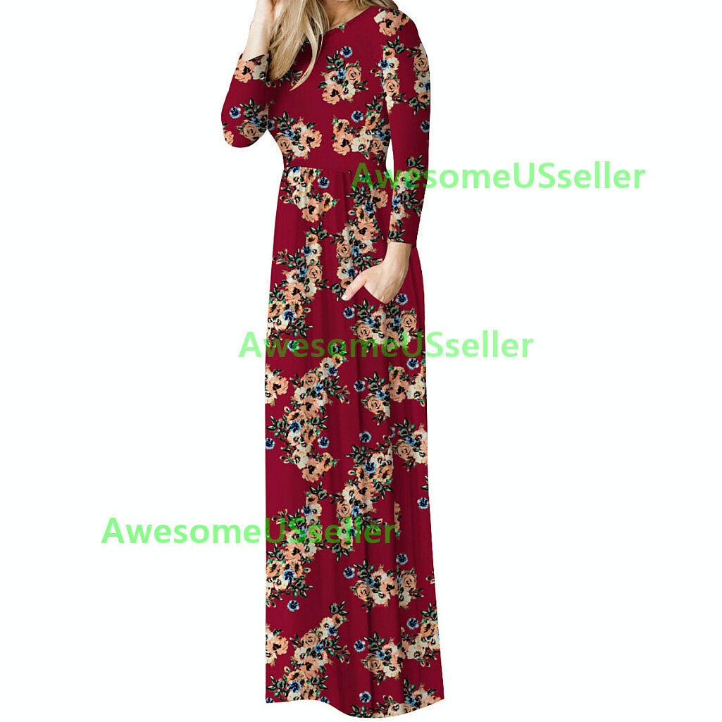 Women's Clothing Fashion Long Floral Print Dress Evening Party Boho Casual Maxi