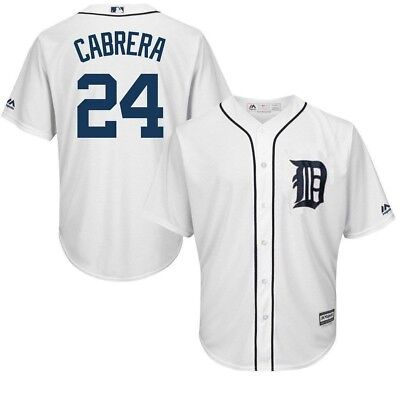 Detroit Tigers MLB Mens Cool Base Miguel Cabrera White Jersey Big & Tall Sizes (Detroit Tigers White Majestic Jersey)
