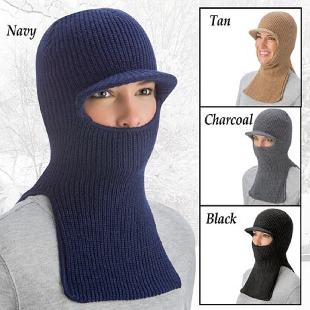 Knit Face Mask & Dickey in 1 Cold Weather Face Mask Balaclava with Brim Warm Clothing, Shoes & Accessories
