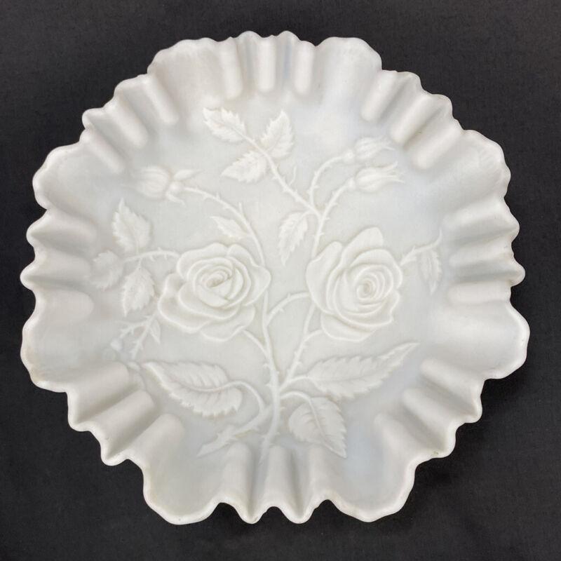"""VTG Ruffled Matte Milk Glass Bowl Embossed Roses Pattern Holland Dutch? 9"""""""