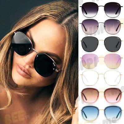 QUAY x CHRISSY JEZABELL Sunglasses Round Frames Chain Rimless Blue Light w/ (Quay Round Sunglasses)