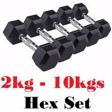 2kg to 10kg RUBBER HEX DUMBBELL PACKAGE SET FOR DUMBELL FOR BENCH Wangara Wanneroo Area Preview