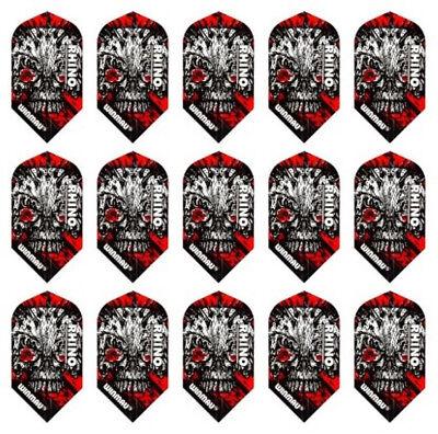 5 New Sets Winmau Rhino Slim 100 Micron Dart Flights – Red Skull
