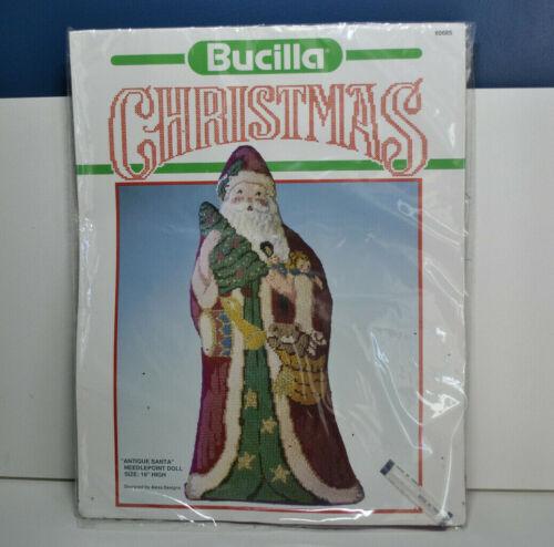 "Bucilla ""Antique Santa"" 16"" Needlepoint Doll - Persian Crewel Yarn - NEW!"