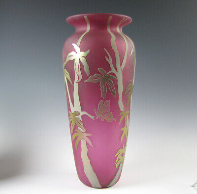 Large Cameo Art Glass Vase with Butterflies and Trees Raspberry Gold Iridescent - Large Cameo Glass Art