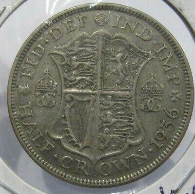1938 British 1/2 Half Crown 50% Silver Coin - Great Britain .227 Oz.