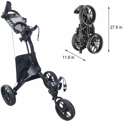 Hoveroid 3 Wheel Foldable Lightweight Golf Push Cart with Foot Brake N8 Black