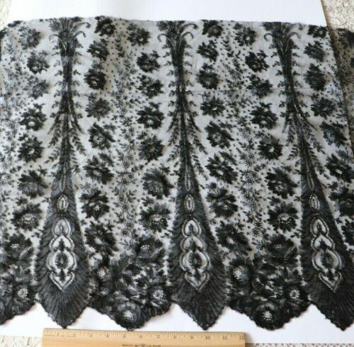 "Antique c1860 French Black Chantilly Lace Yardage~L-23"" X W-105"""