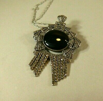 Fine Vintage Estate Sterling Silver Marcasite Black Onyx Brooch Necklace Pendant Marcasite Onyx Necklace