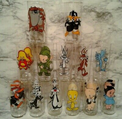 12 Vntg 1973 Looney Tunes Cartoon PEPSI Collector Series Glasses - All Federal