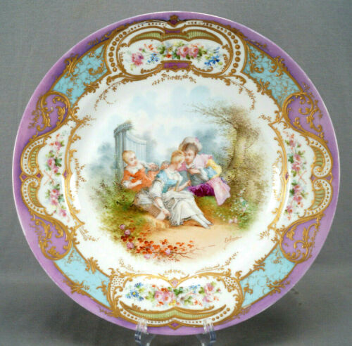 Sevres Style Lebrun Hand Painted Watteau Scene Raised Gold Floral Charger Plate