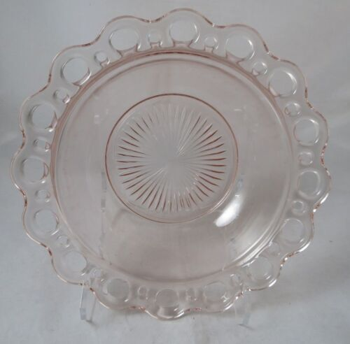 """Anchor Hocking Old Colony Open Lace Edge Pink Depression Round Serving Bowl 9"""""""
