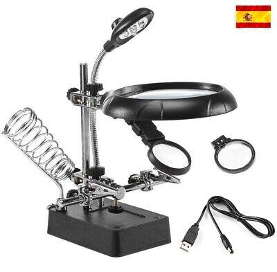 Lupa para Electrónica Luz led Relojero Soldador Pinzas Base Soporte soldar USB