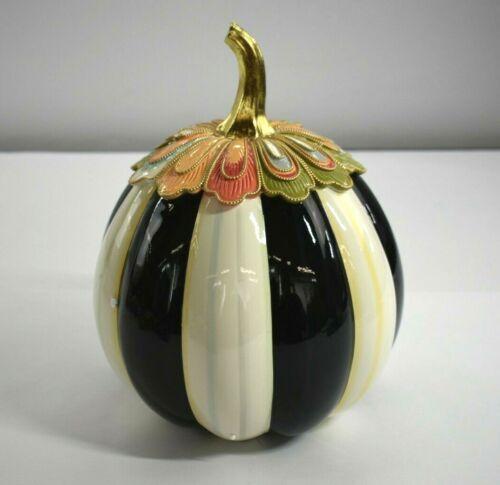"""MacKenzie-Childs Aurora Stripe Pumpkin Large 12.5"""" Decorative Indoor New"""