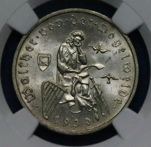1930 A Germany Silver 3 Mark Vogelweide NGC MS64+ - A56