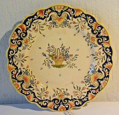 C52 Ancienne assiette de Rouen décor fait main