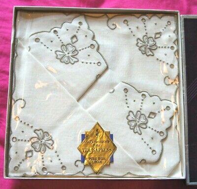 Vintage Set 4 Clover Hand Embroidered White Irish Linen Afternoon Tea Napkins