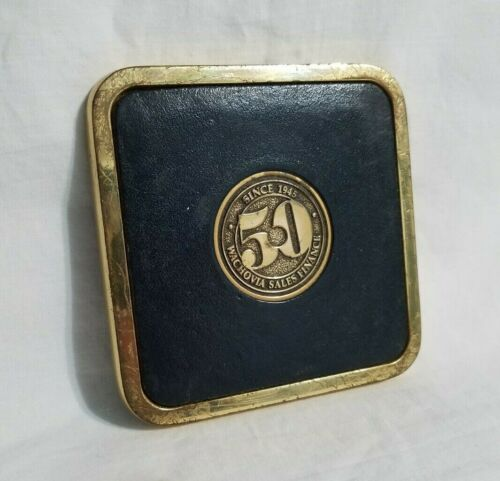 Vintage Wachovia Bank Coaster Brass Leather 50 Years Sales Finance Collectible