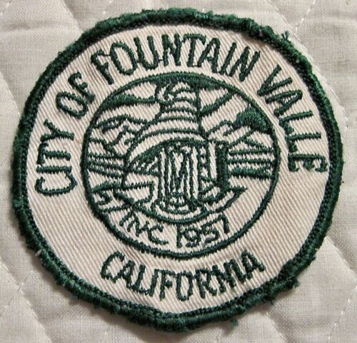 """Vintage Old City of Fountain Valle California Inc. 1957 Patch  - 2 3/4"""""""