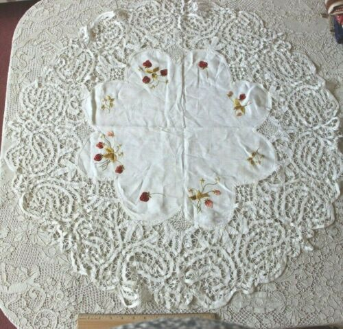 Antique c1900 Silk Society Work Hand Emb Strawberries On Linen Tablecloth~31""