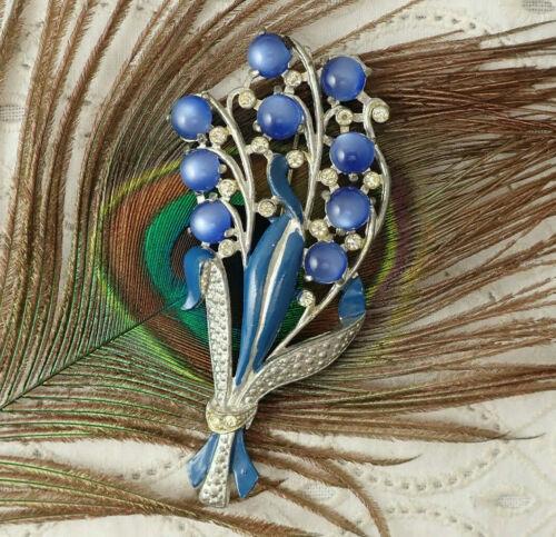 Art Deco Blue Moonglow Cabochon Enamel Flower Bouquet Pot Metal Pin Brooch