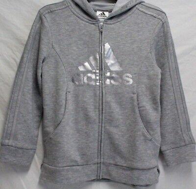 *NEW* Adidas Girls Full Zip Fleece Hoodie Sweatshirt ()