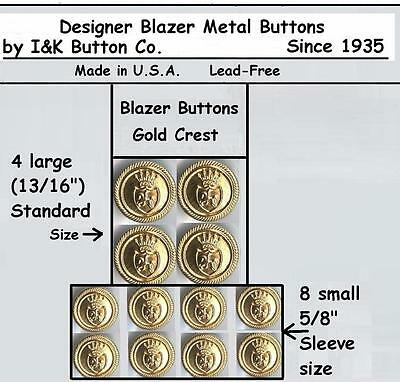 Buttons In Bulk (1 Set of Gold Designer Mens or Womens Blazer Metal Buttons-also in)