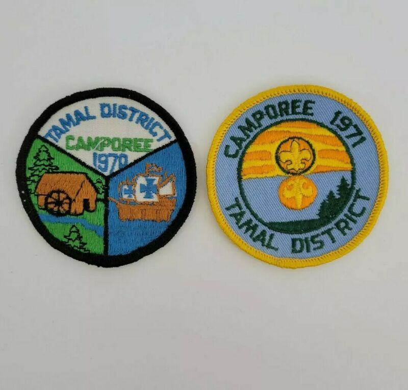 Vtg Boy Scouts of America Camporee Patches 1970 1971 Tamal District Lot of 2
