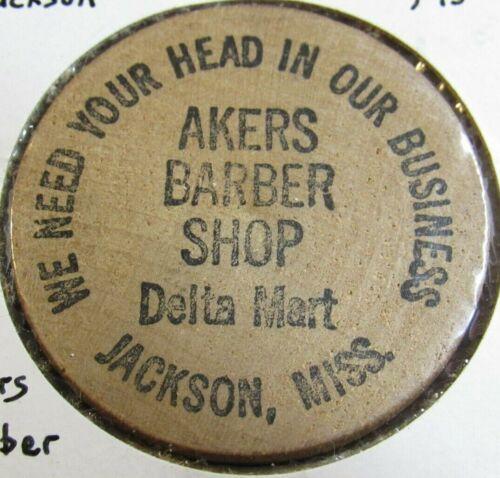 Vintage Akers Barber Shop Jackson, MS Wooden Nickel - Token Mississippi