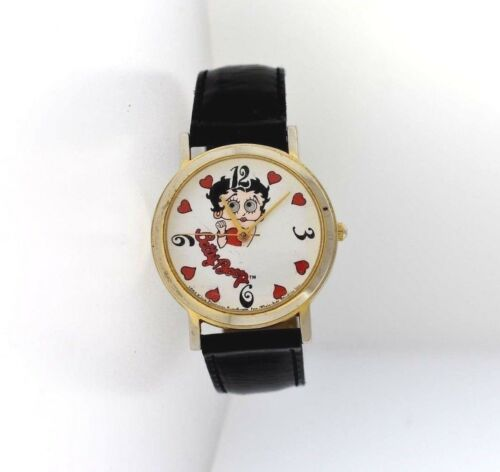 1994 Vintage Betty Boop Black Leather Watch