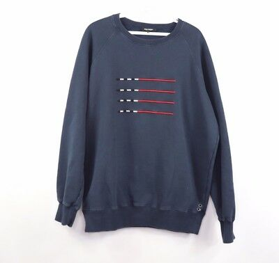 Ron Dorff Mens XL Abstract Flag Striped Paris Stockholm Crewneck Sweatshirt Blue
