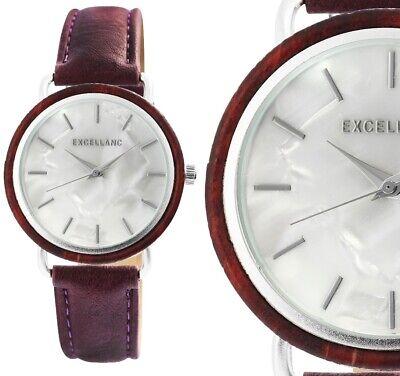 Damenuhr Armbanduhr Holz Perlmutt Silber Rotbraun Kunstleder 1900244 Excellanc