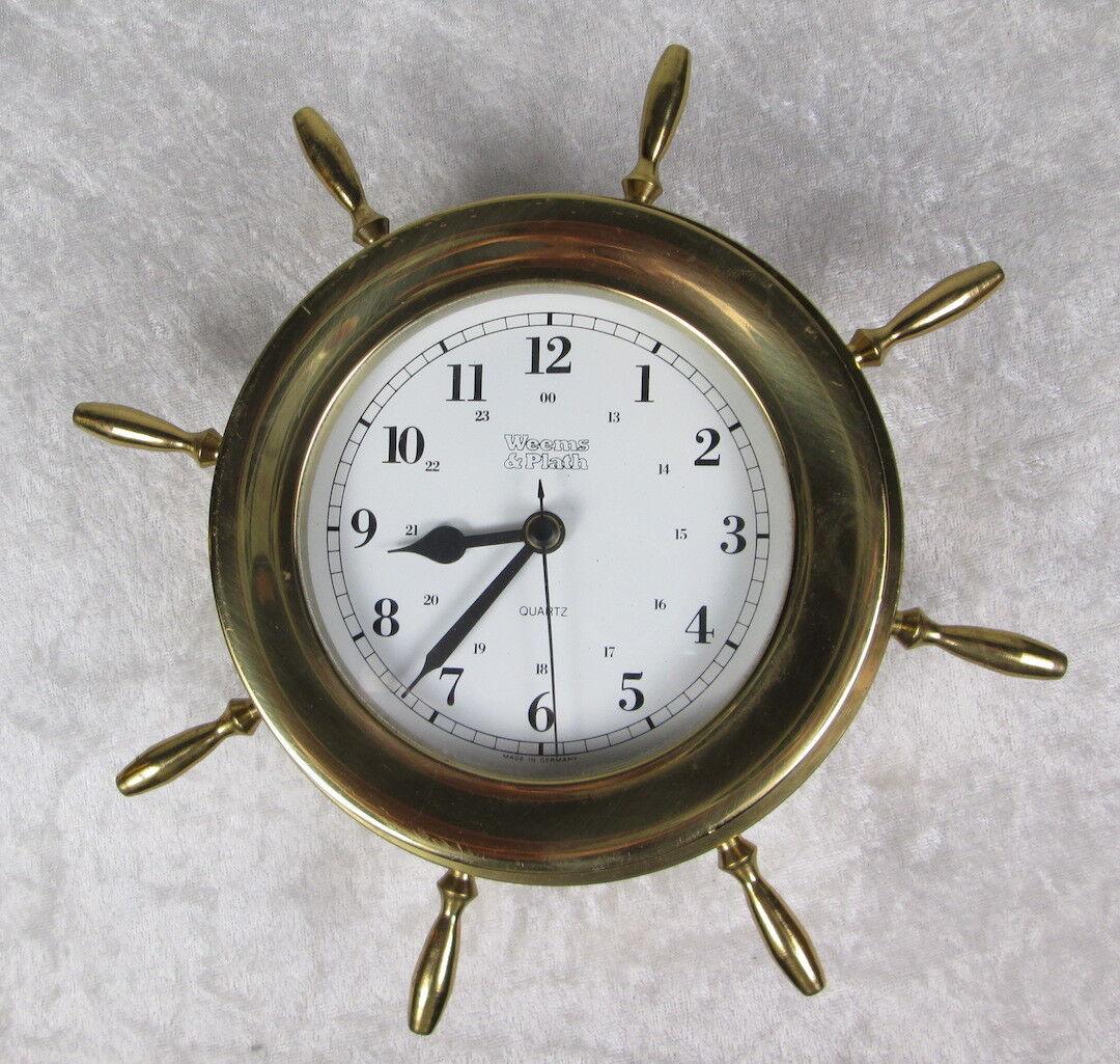 Weems & Plath Brass Quartz Clock Ships Wheel Made in Germany 8-1/2 inch Diameter