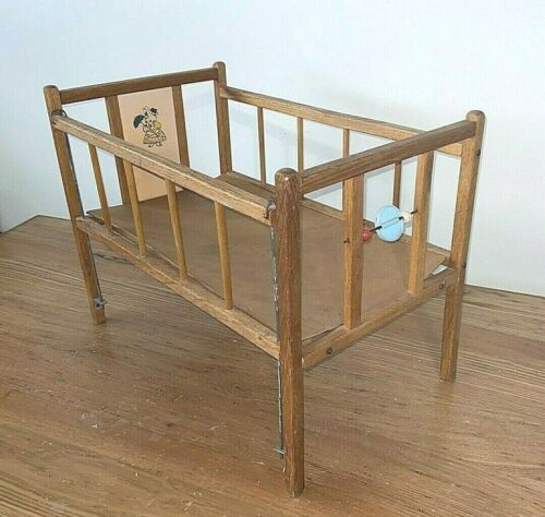 Vintage Wooden Baby Doll Bed Crib