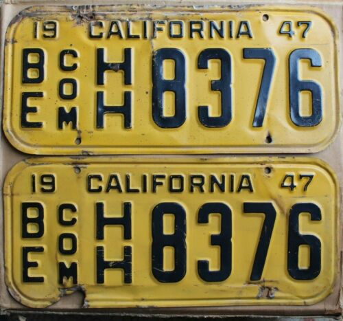 1947 California Commercial License Plates Pair