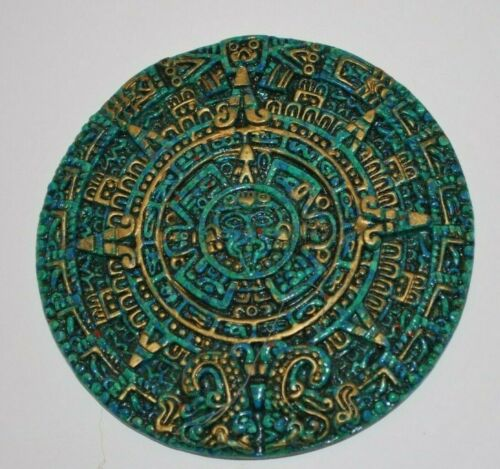Vintage Mayan Aztec Calendar Epoxy & Crushed Green Stone  Plaque Wall Hanging
