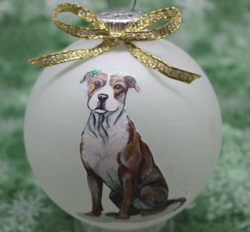 D038 Hand-made Christmas Ornament dog - Pit Bull Terrier pitbull - tan white sit